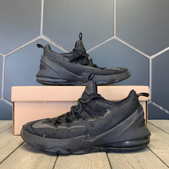 huge selection of bb9e9 2f4f3 Nike Lebron 13 Low GS Triple Black Shoe Size 7Y
